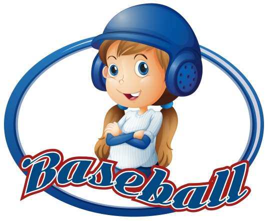 Little girl in baseball outfit