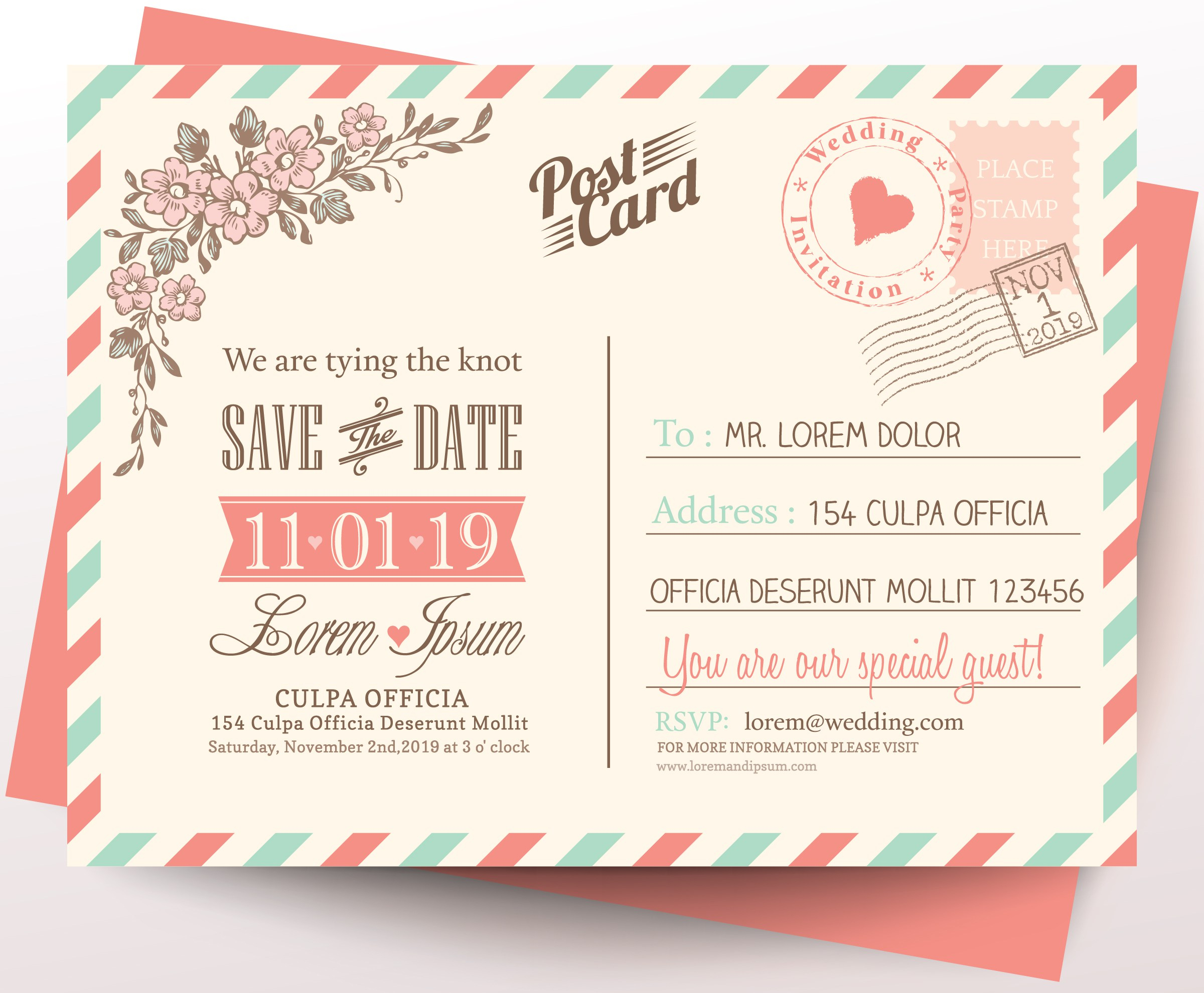 Vintage postcard wedding invitation background