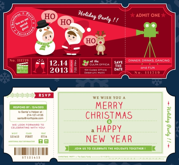 Christmas Party Ticket Card Template