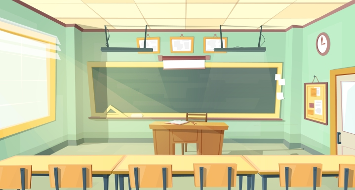 Vector cartoon illustration of college classroom