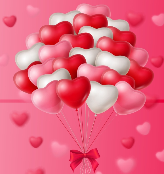 Sale, Happy Valentine Day lettering with bunch of balloons