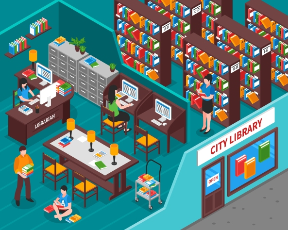 City Library Isometric Illustration
