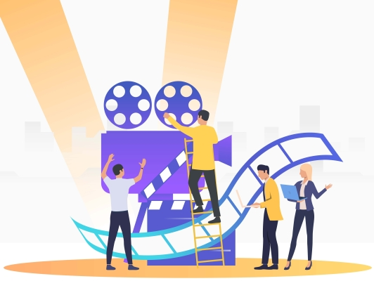 People creating film
