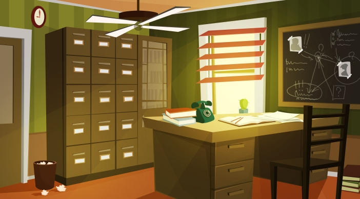 Private detective office interior cartoon vector