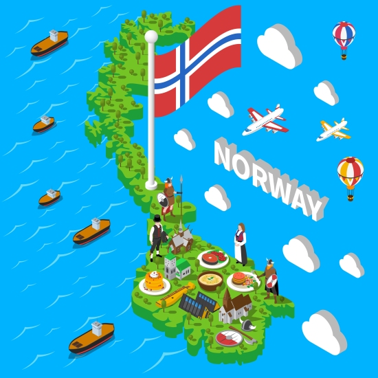 Norway Map Touristic Symbols Isometric Poster