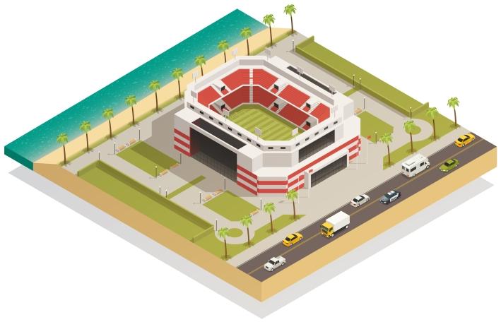 Football Sport Stadium Isometric Composition